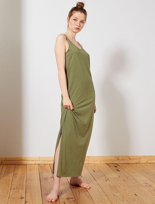 Vestido largo sin mangas                                                                 verde liquen Mujer talla 34 a 48