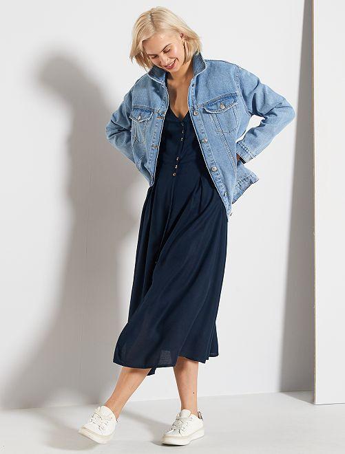 Vestido largo vaporoso                             azul