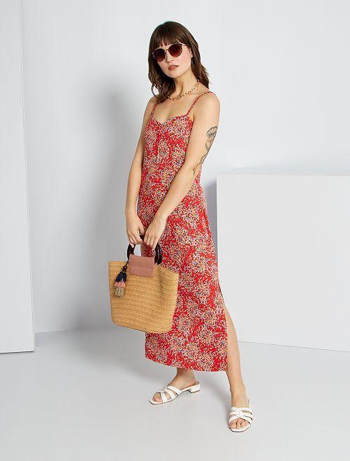 Vestido largo vaporoso con estampado de 'flores'                             ROJO