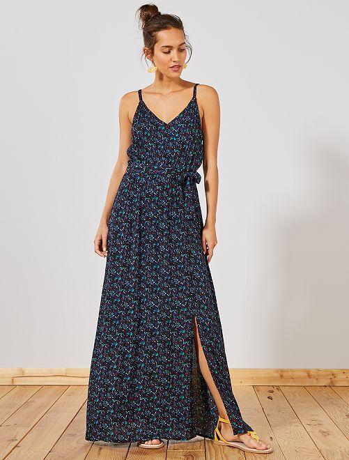 Vestido largo vaporoso de crepé con tirantes finos                             AZUL Mujer talla 34 a 48