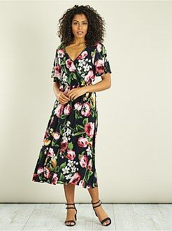 Vestidos largos - Vestido largo vaporoso de flores - Kiabi