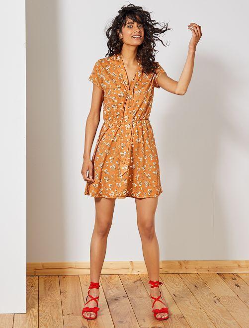 Vestido ligero de flores                             naranja Mujer talla 34 a 48