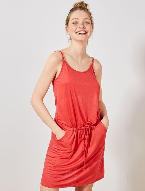 Vestido ligero liso                                                                                         rojo cereza Mujer talla 34 a 48