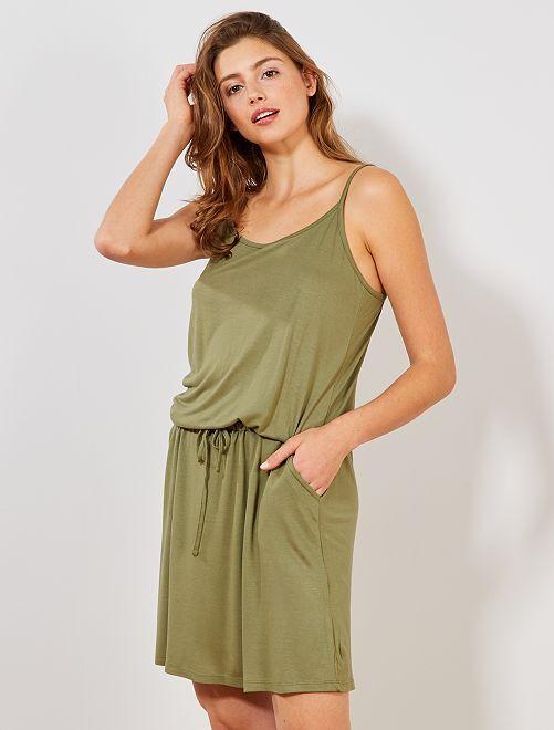 Vestido ligero liso                                                                                         verde liquen Mujer talla 34 a 48