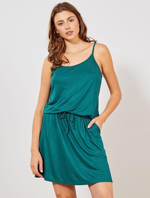 Vestido ligero liso                                                                                         verde osuro Mujer talla 34 a 48