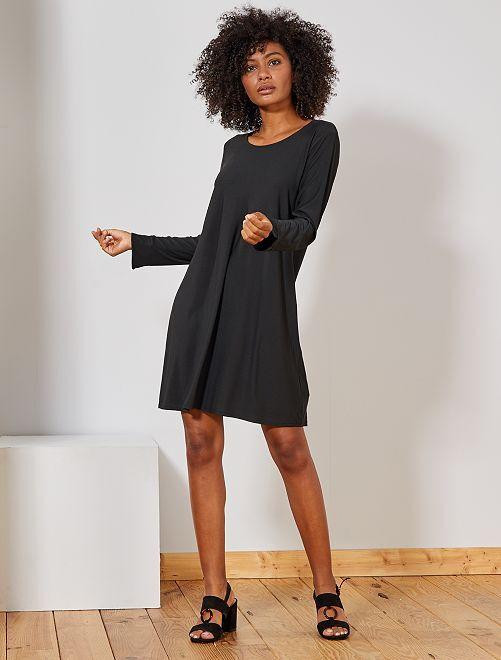 Vestido liso elástico                             negro