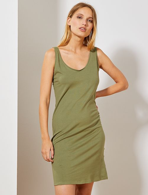 Vestido liso largo sin mangas                                                                 verde liquen Mujer talla 34 a 48