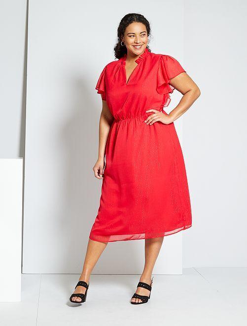 Vestido midi con cintura ajustada                                         rojo
