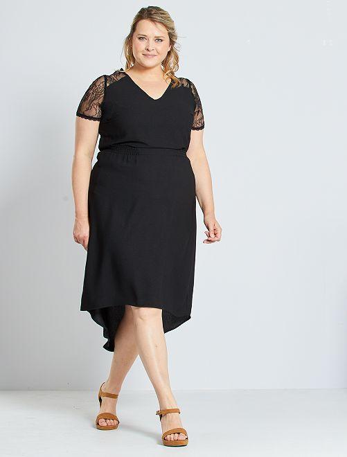 Vestido midi con detalles de encaje                                         negro