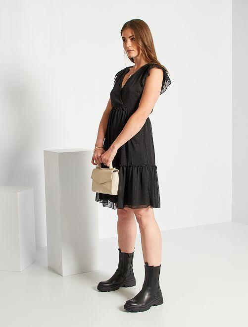 Vestido midi de gasa de plumeti                             negro