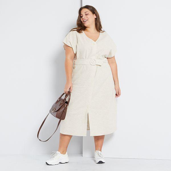 Vestido Midi De Lino Y Algodón Tallas Grandes Mujer Beige Kiabi 25 00