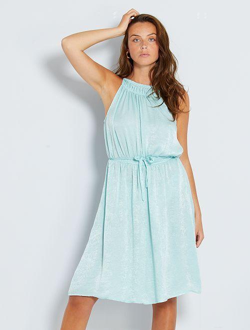 Vestido midi de raso                             azul