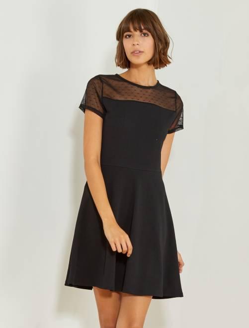 Vestido negro con parte superior de plumeti                             negro Mujer talla 34 a 48
