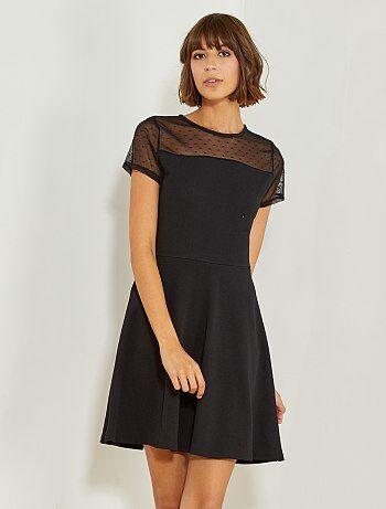 Vestido negro con parte superior de plumeti - Kiabi