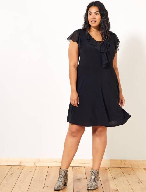Vestido negro con volantes                             negro Tallas grandes mujer