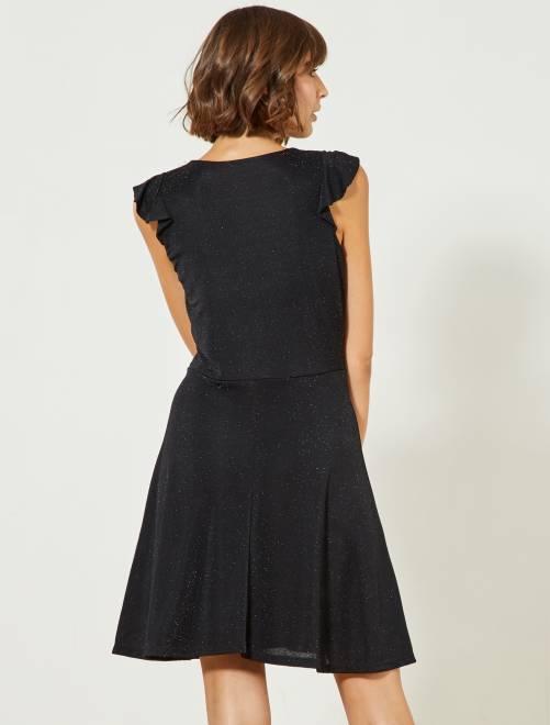 dc210aaa5 Vestido negro cruzado con purpurina Mujer talla 34 a 48 - negro ...