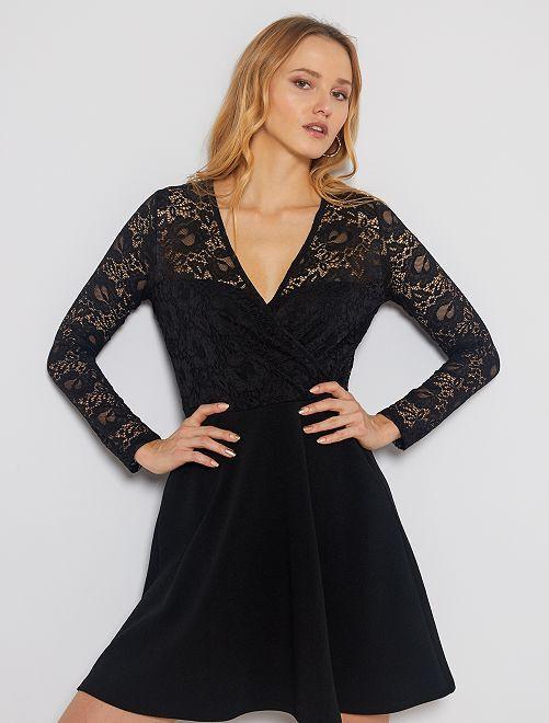 Vestido negro de encaje                             negro