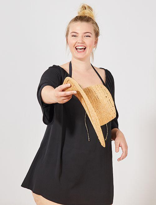 Vestido playero escote dorado                                         negro Tallas grandes mujer