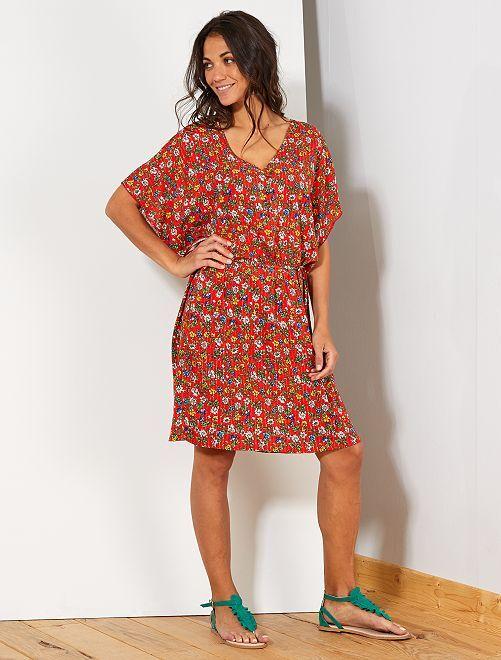 Vestido playero estampado de 'flores'                             ROJO Mujer talla 34 a 48