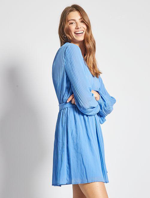 Vestido plisado                     AZUL