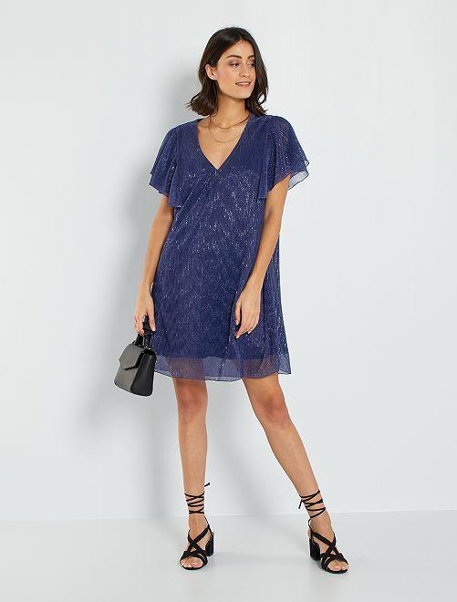Vestido plisado brillante                             azul cobalto