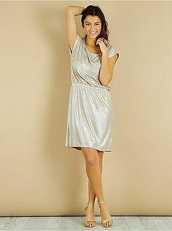 Mujer - Vestido plisado brillante - Kiabi