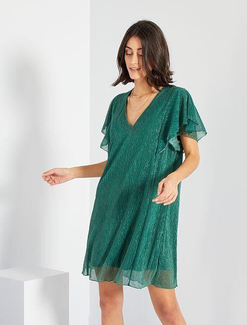 Vestido plisado brillante                                                     verde pino