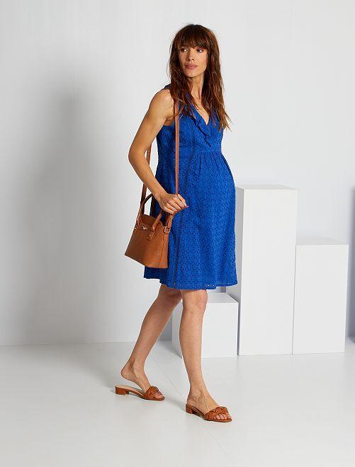 Vestido premamá con bordado inglés                                                     azul océano
