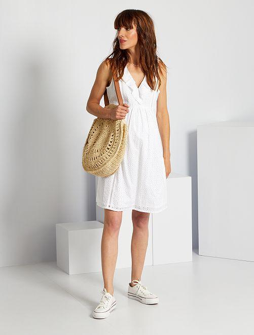Vestido premamá con bordado inglés                                                     blanco