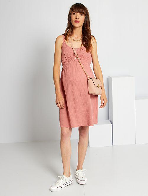 Vestido premamá de gasa de algodón                                         ROSA