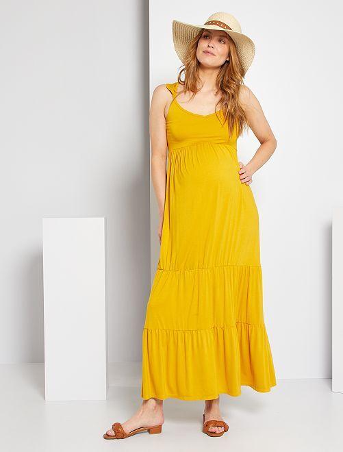 Vestido premamá largo                                         amarillo bronce