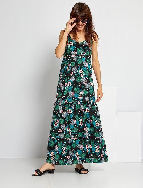 Vestido premamá largo de flores                                         NEGRO