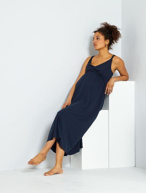 Vestido premamá largo de punto elástico                                         azul