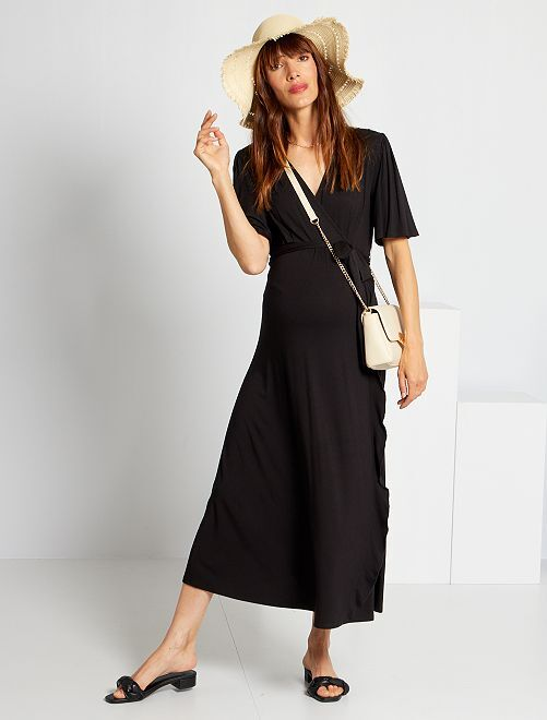 Vestido premamá largo de punto                                         negro