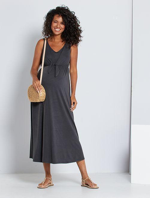 Vestido premamá largo                                         gris oscuro