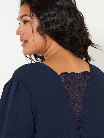 Vestido recto abotonado con espalda de encaje - Kiabi