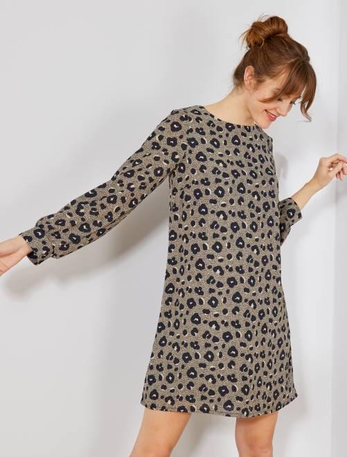 Vestido recto con estampado de 'leopardo'                             MARRON Mujer talla 34 a 48
