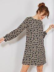 Vestido recto con estampado de 'leopardo'