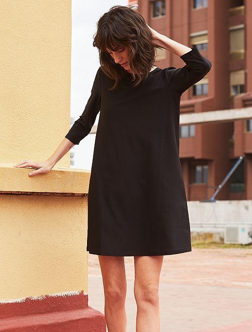 Vestido recto con manga 3/4                                                     negro Mujer talla 34 a 48