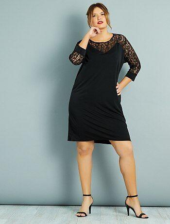 fb07eca7d Tallas grandes mujer - Vestido recto con plastrón y mangas de encaje - Kiabi