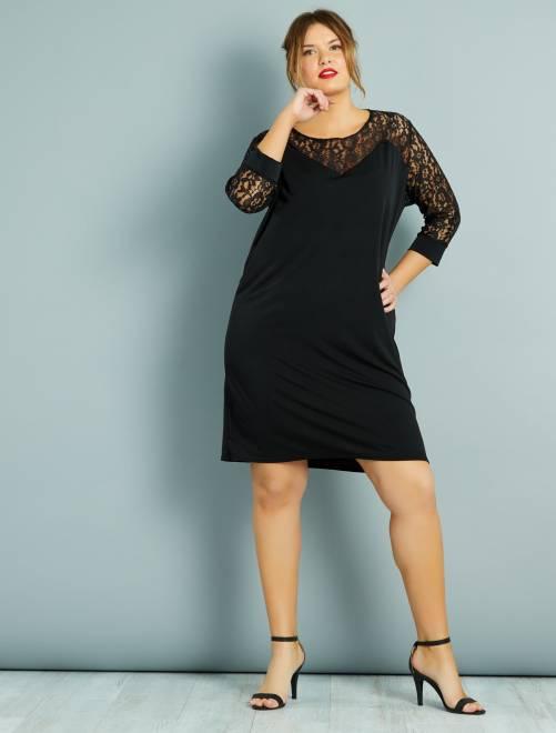 Vestido recto con plastrón y mangas de encaje                             negro