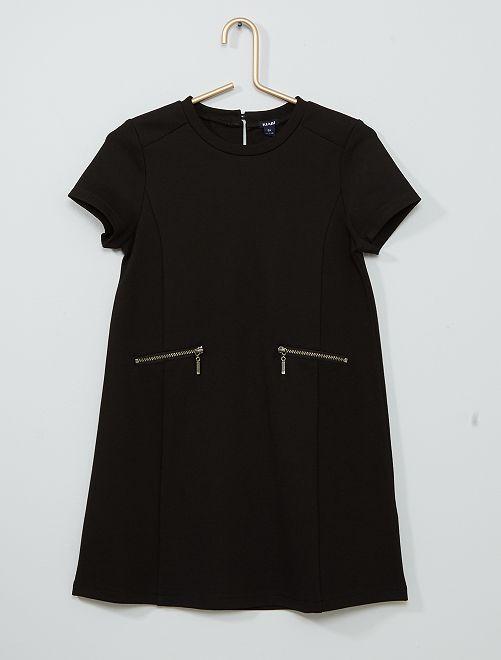 Vestido recto de punto milano                             negro