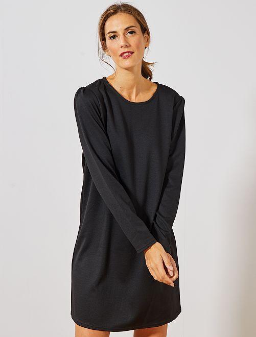 Vestido recto de punto                                                     negro