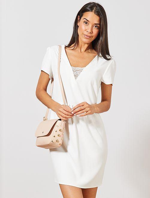 Vestido recto vaporoso con encaje                                                     blanco nieve Mujer talla 34 a 48