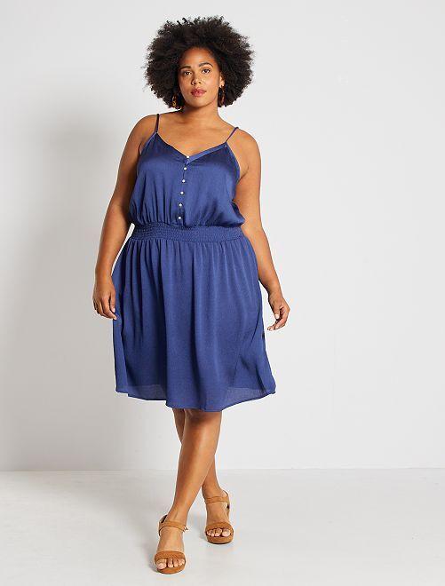 Vestido satinado con cintura marcada                                         azul cobalto