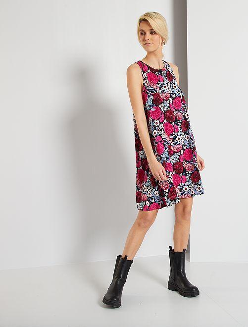 Vestido sin mangas con estampado de 'flores'                             NEGRO