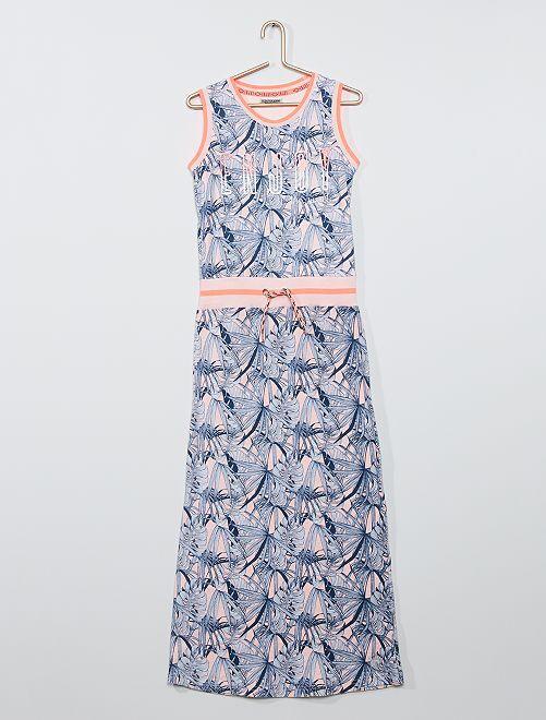 Vestido sin mangas con estampado 'tropical'                             rosa/azul