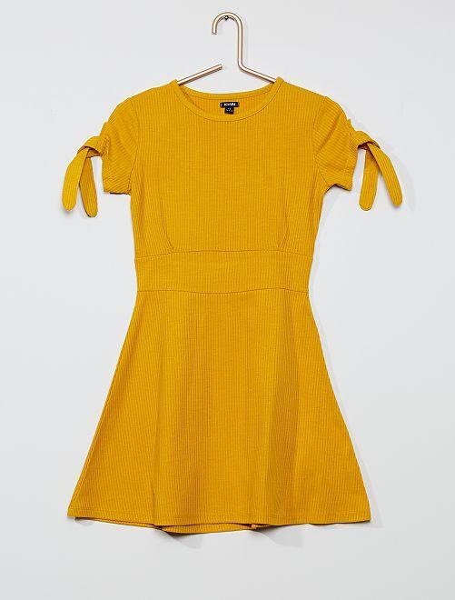 Vestido skater de punto de canalé                                                                 amarillo bronce