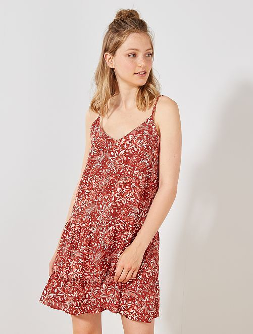 Vestido tie & dye de tirantes finos                             NARANJA Mujer talla 34 a 48