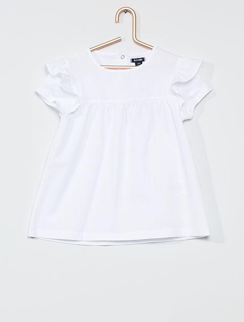 Vestido tipo camiseta de algodón                                         blanco